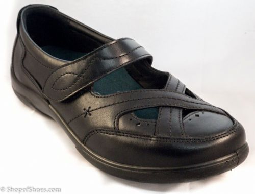 Cello black leather dual fit extra wide Padders 4E/6E bar shoe